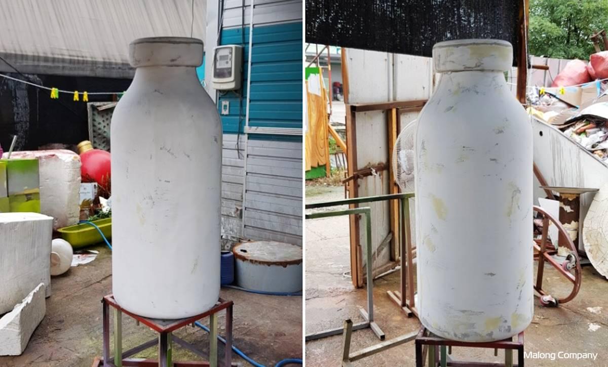 [FRP 모형 조형물 제작] 투명 우유병 제품 실내 조형물 FRP 제작