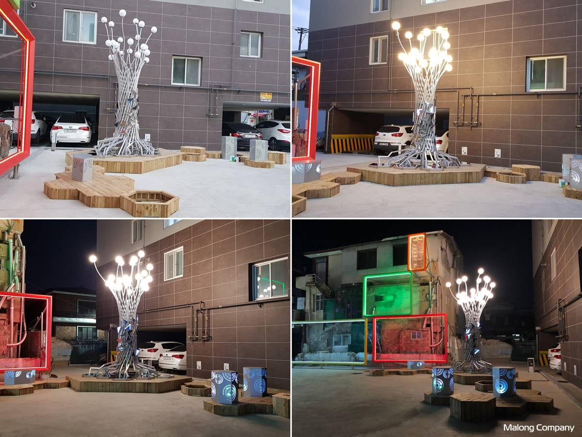 [금속 상징 조형물] 포항시 꿈틀로스퀘어 디지털 숲 조형물 제작