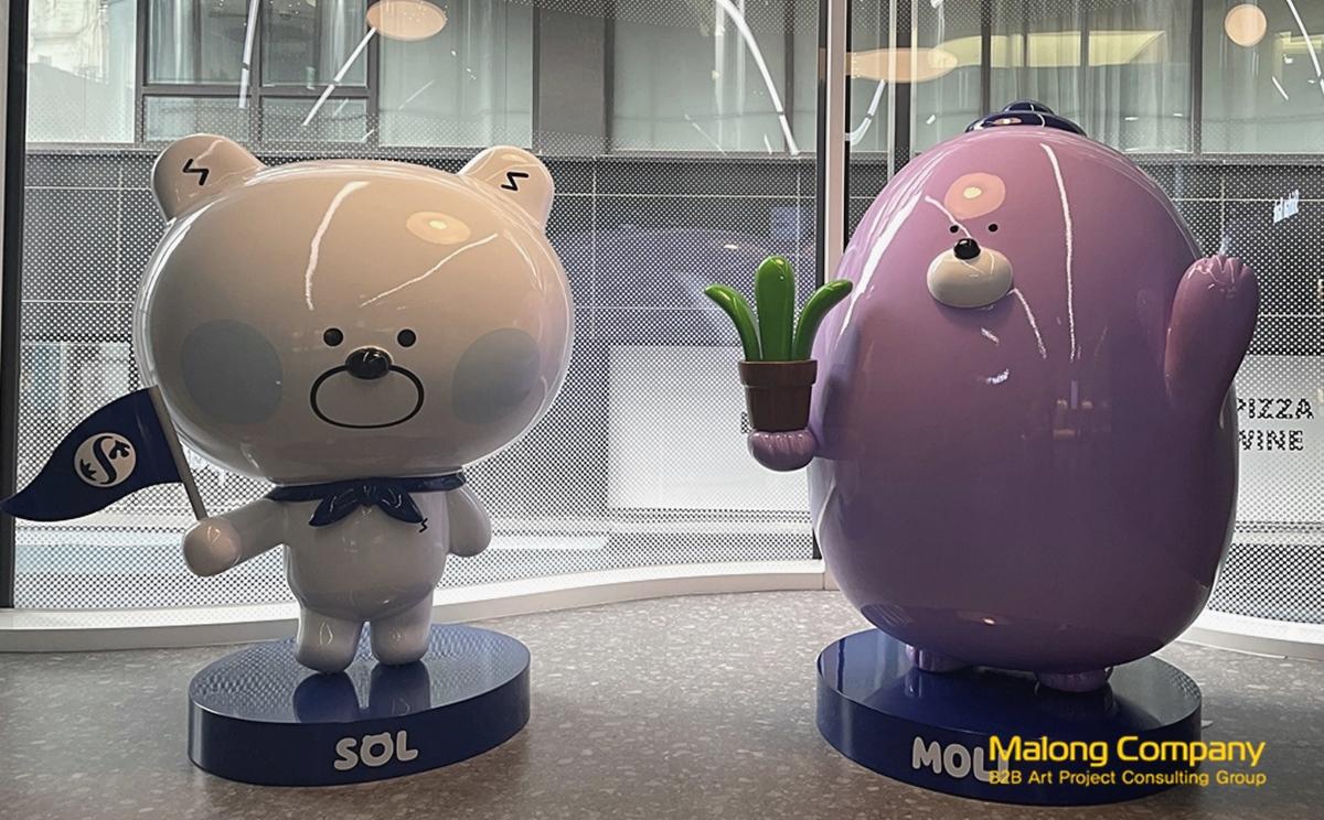 신한은행 마스코트 캐릭터 쏠과 몰리 FRP 조형물 제작 업체